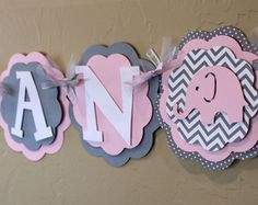 Elephant Light Baby Pink Gray Chevron Stripe Polka Dot NAME or IT'S A GIRL Banner Girl Baby Shower Party Decorations Wedding Love Valentine.