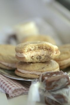 fluffy banana sour cream whoopie pies filled with homemade vanilla bean caramel sauce for the swiss meringue buttercream