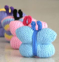"Free Knitting Pattern for Quick and Easy Butterfly - These butterfly softies are about 8cm (3 "") wide.The designer Amalia Samios says this pattern is suitable for beginners and also allows the selling of the finished goods based on her patterns. Great use for scrap yarn."