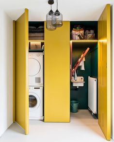 Laundry & Mudroom Hidden laundry room ideas The best part of my grandmother's vegetable garden was t Interior Color Schemes, Yellow Interior, Diy Interior, Interior Design Living Room, Interior Decorating, Simple Interior, Interior Paint, Contemporary Interior, Laundry Room Inspiration