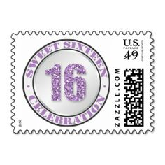 Glitter Purple Sweet 16 Celebration Postage Stamps. Wanna make each letter a special delivery? Try to customize this great stamp template and put a personal touch on the envelope. Just click the image to get started!