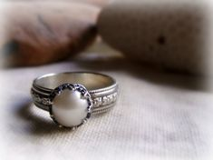 Pearl Engagement Ring  Sterling Silver Crown by PrometheanDesign, $74.95