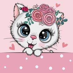 Illustration about Cute Cartoon white Kitten with flowerson a pink background. Illustration of cute, fantasy, kids - 159831332 Cartoon Cartoon, Cartoon Whale, Disney Cartoon Characters, Cute Cartoon Girl, Cute Cartoon Animals, Cute Animals, Face Painting Tutorials, Face Painting Designs, Cartoon Mignon