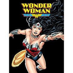 Stay warm with Wonder Woman all winter long. Stunning, colorful design looks just like a comic book cover. $25.00