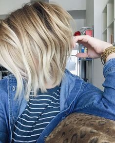 short angled bob hairstyle + blonde