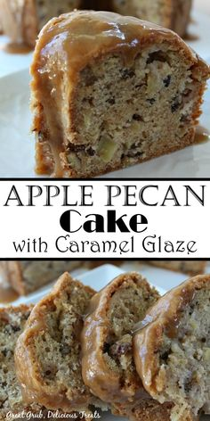 Apple Pecan Cake with Caramel Glaze is a delicious cake loaded with apples, pecans and topped with a caramel glaze. Apple Pecan Cake with Caramel Glaze is a delicious cake loaded with apples, pecans and topped with a caramel glaze. Köstliche Desserts, Great Desserts, Dessert Recipes, Raspberry Desserts, Candy Recipes, Healthy Desserts, Holiday Recipes, Bunt Cakes, Cupcake Cakes