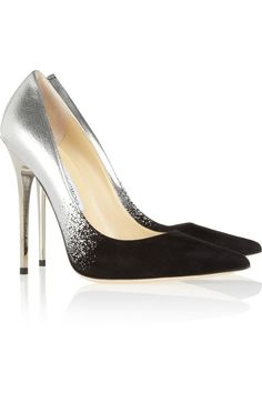 Jimmy Choo | Anouk degradé metallic leather and suede pumps  | NET-A-PORTER.COM