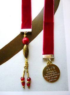 Love Bookmark, Red Velvet Ribbon Bookmark, Unique Bookmark