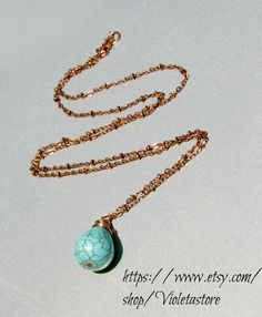 Cooper and turquoise pear shape necklace  Ask a Question $22.00 USD Only 1 available Overview Handmade item Materials: Cooper, cooper chain, Turquoise stone, Violetastore Feedback: 2 reviews Ships worldwide from Fort Worth, Texas This shop accepts Etsy Gift Cards