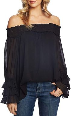 Find CeCe Off Shoulder Ruffle Cuff Blouse online. Shop the latest collection of CeCe Off Shoulder Ruffle Cuff Blouse from the popular stores - all in one Chiffon Ruffle, Ruffle Blouse, Blouse Dress, Boho Dress, Sleeveless Turtleneck, Blouse Styles, Flare Dress, Blouses For Women, Cheap Blouses
