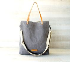 Waxed Canvas Tote Bag, Grey Tote, UNISEX Bag, Light Gray Tote Bag, Cross body bag, Leather Straps, Travel Bag, Canvas Tote, Men Bag, Women