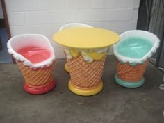 Ice Cream Furniture Set (JR - The Jolly Roger - Life Size Models - Resin Figures Cream Furniture, Resin Furniture, Unique Furniture, Furniture Sets, Ice Cream Cart, Ice Cream Parlor, Interior Fit Out, Interior Design, How To Make Resin