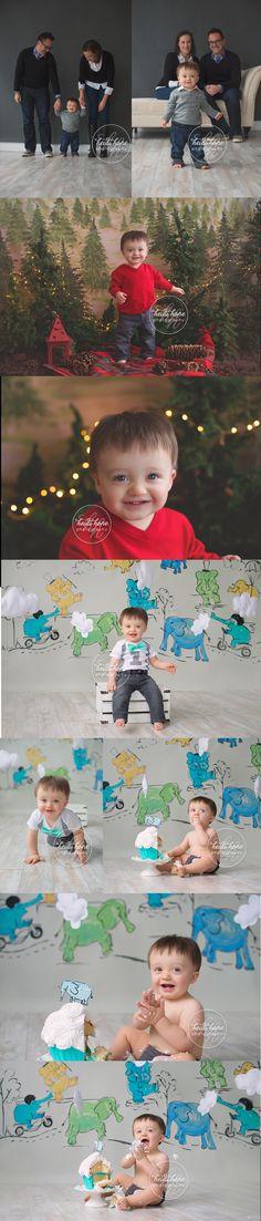 Happy First Birthday baby T!  An elephant cakesmash and holiday portrait sneak peek. | Heidi Hope Photography