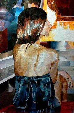 Collage portrait by Keren Philosophe - Magazine paper on canvas