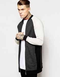 ASOS Super Longline Bomber Jacket In Jersey With Color Block