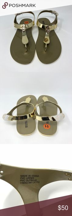 Michael Kors Women's Gold Flat Jelly Sandals MK Michael Kors Women's Gold Flat Jelly Sandals MK Gold Logo MSRP $80  Please review all photos and ask any questions about the item before purchasing.   Thank you for your business and if you have any questions, please feel free to contact me and I will be more than happy to answer you.   + FAST SHIPPING + SOLD AS SHOWN  18.03.26.22.98 Michael Kors Shoes Sandals