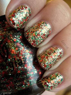 China Glaze Party Hearty over China Glaze Twinkle Lights by Goose's Glitter. Love sparkle nail polish<3