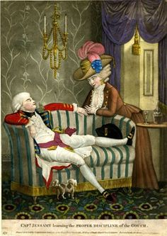 Satire:  a reversal of roles A young man, in military dress, of elegant and effeminate appearance, sprawls on a sofa, looking towards a young woman (right) who leans towards him. She is of meretricious appearance, and wears the mens style quasi-military riding-dress fashionable at this time in connection  with the militia camps of 1782 Hand-coloured mezzotint