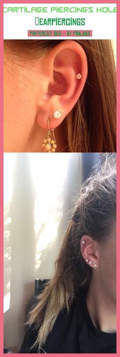 ear piercings helix Black and gray tattoos cartilage piercing aesth Piercing Chart, Triple Cartilage Piercing, Cartilage Piercing Infection, Unique Ear Piercings, Ear Piercings Cartilage, Piercing Types, Piercing Bump, Tongue Piercings, Piercing Ideas