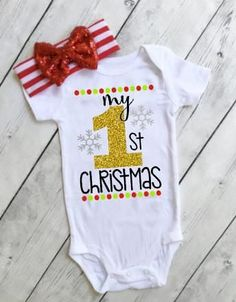 Unique Baby Unisex My 1st Christmas Onesie Outfit Santa Layette Set