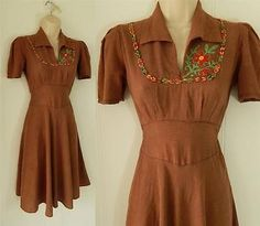 SWELL ViNTAGE 30's COTTON EMBROiDERY DAY DRESS * XS * TEEN