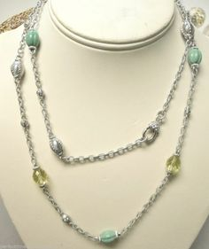 Judith Ripka Necklace Green Turquoise & Limon Quartz Station Chain Sterling 36""