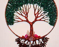 Tree Of Life Wall Decor Hanging, Malachite Gemstone Wire Tree Sculpture