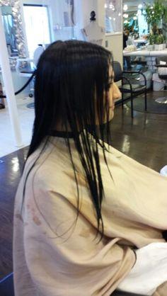 Before angled bob haircut by Helene at Bruno 1 salon.