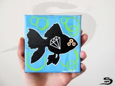 Black Fish is an original, one of a kind, surreal acrylic painting of a Fish…