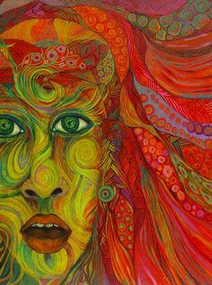 Encre, acrylique, pastel gras sur toile 60/80cm. Patricia Mouton