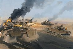 """""""Force Zvika"""" Lieutenant Zvi 'Zvika' Greengold fought one of the most remarkable individual tank battles in the annals of armoured warfare. Singlehandedly, he destroyed some 40 Syrian tanks but claims only 20 while having to change tanks six times due to battle damage, 6 October 1973"""
