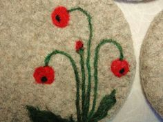 Wool Felted Coasters with a Needle Felted Red Poppy Design~Felt ...