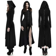 Black Long Sleeve Hooded Maxi Long Gothic Vampire Fashion Dress Women SKU-11402823