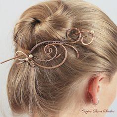 Elegant Copper Hair Clip Barrette, Large Hair Pin, Wire Woven Pearl Bun Holder…