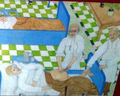 """""""Aquarelle réalisée par un patient de l'hôpital Ste Anne en 1949"""""""