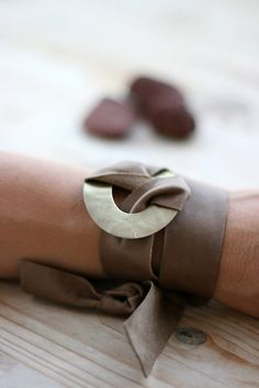 Brown Leather Wrap Bracelet Leather Bracelet by EleannaKatsira