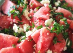 summer salad with watermelon, feta cheese and mint- tried something like this at Whole Foods - yummy!