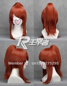 Free Track Anime Sengoku Musou 3 OICHI Auburm Cosplay Wig Costume 1 Clip on Ponytail   Heat Resistant