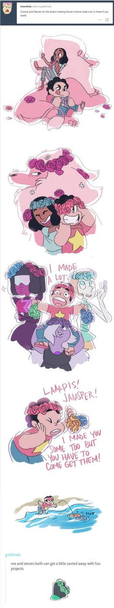 This Photo shows Steven and Connie making flower crowns for Garnet,Amythyest and Pearl Steven also give some to Jasper and Lapis even through that Jasper is an emery   What i like about this pin is that Steven will make a flower crown to everyone even his emerys.