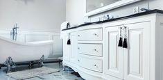 landelijke badkamermeubel met dubbele waskom