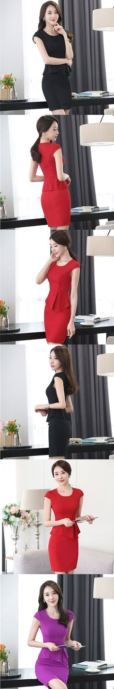 Novelty Red Slim Fashion Summer Short Sleeve Skirt Suits With 2 Piece Tops And Skirt OL Styles For Ladies Office Women Plus Size