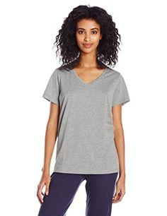 f22f911eea3 HUE Women s Short Sleeve V-Neck Grey Tee