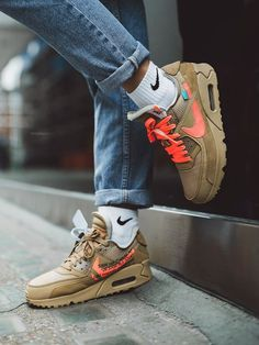 """The Off-White x Nike Air Max 90 """"Desert Ore"""" is available at FitMySole. This Nike Air Max 90 comes dressed in a Desert Ore, Hyper Jade and Bright Crimson color combination. Moda Sneakers, Best Sneakers, Air Max Sneakers, Sneakers Fashion, Sneakers Nike, Shoes Online, Fashion Shoes, Nike Air Max Branco, Fashion Clothes"""