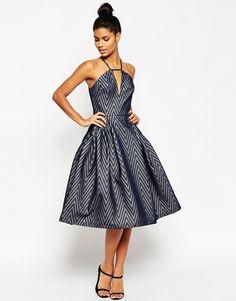 Image 1 ofASOS Textured Chevron Pinny Midi Prom Dress