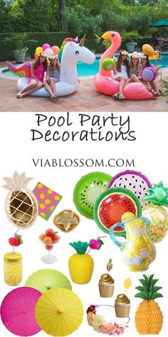 How to throw a fabulous Pool Party on the Via Blossom Blog!!!  Tropical party decorations for a Fruity Summer Party! Also all the fun Pineapple decorations and Tutti Frutti party supplies for a fun Celebration!