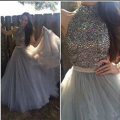beaded Prom Dresses,long prom dress,gray prom Dress,high neck prom dress,A-line evening gown,BD2425