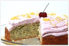 Lemon poppy seed cake with cherry butter cream frosting - my kind of birthday cake
