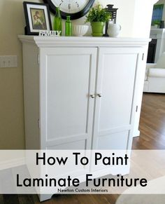 Learn how to paint laminate furniture with this step-by-step video tutorial, which makes this a popular pin!