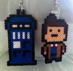 Doctor Who earrings perler beads by GeekofMine
