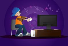 video games   Boy Playing Video Games - Vector illustration of a young boy focused ...